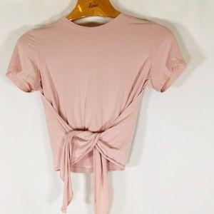 Wilfred Aritzia Crop top tie waist Shirt S pink